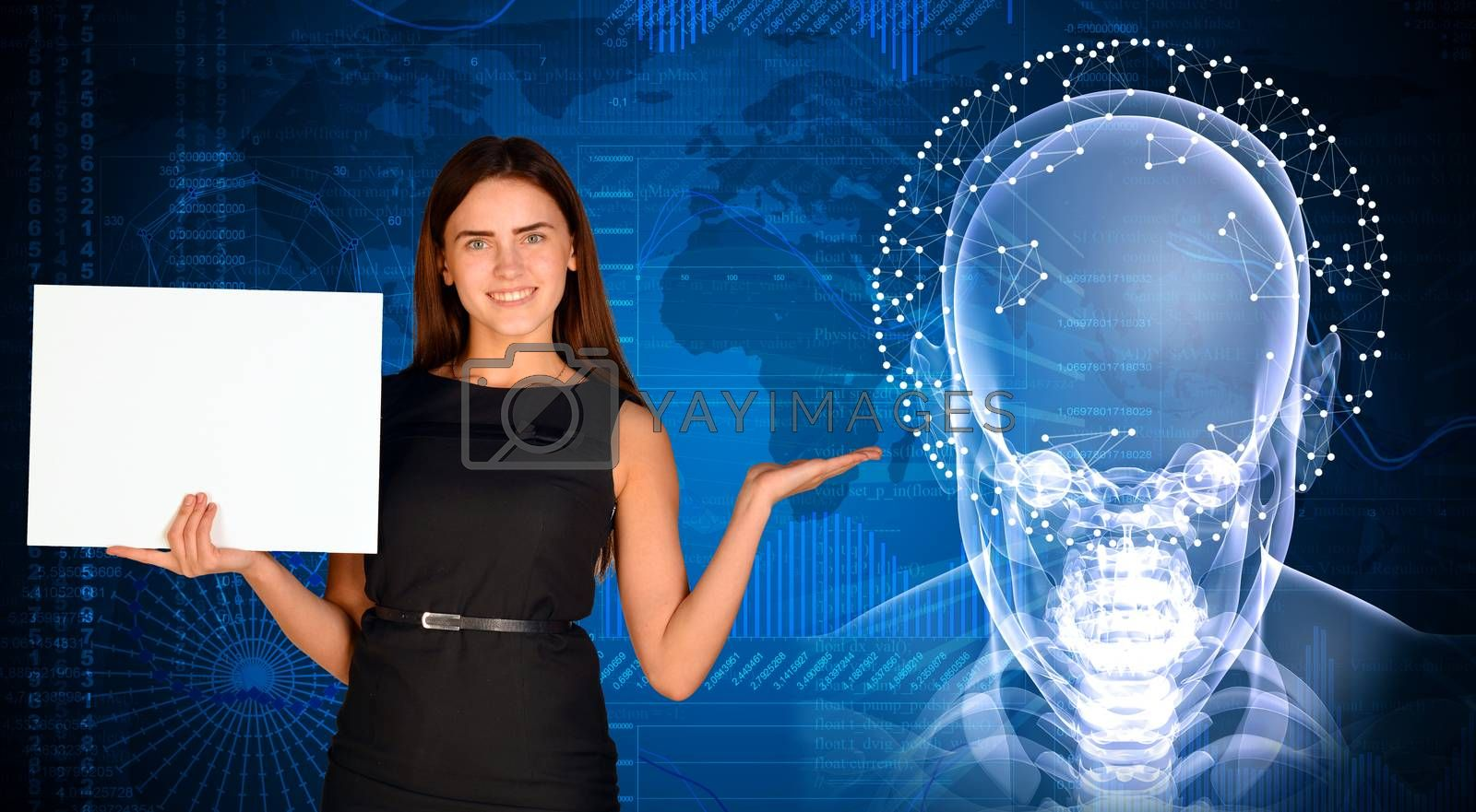 Businesswoman holding paper sheet. X-ray image of head, graphics and communication as backdrop