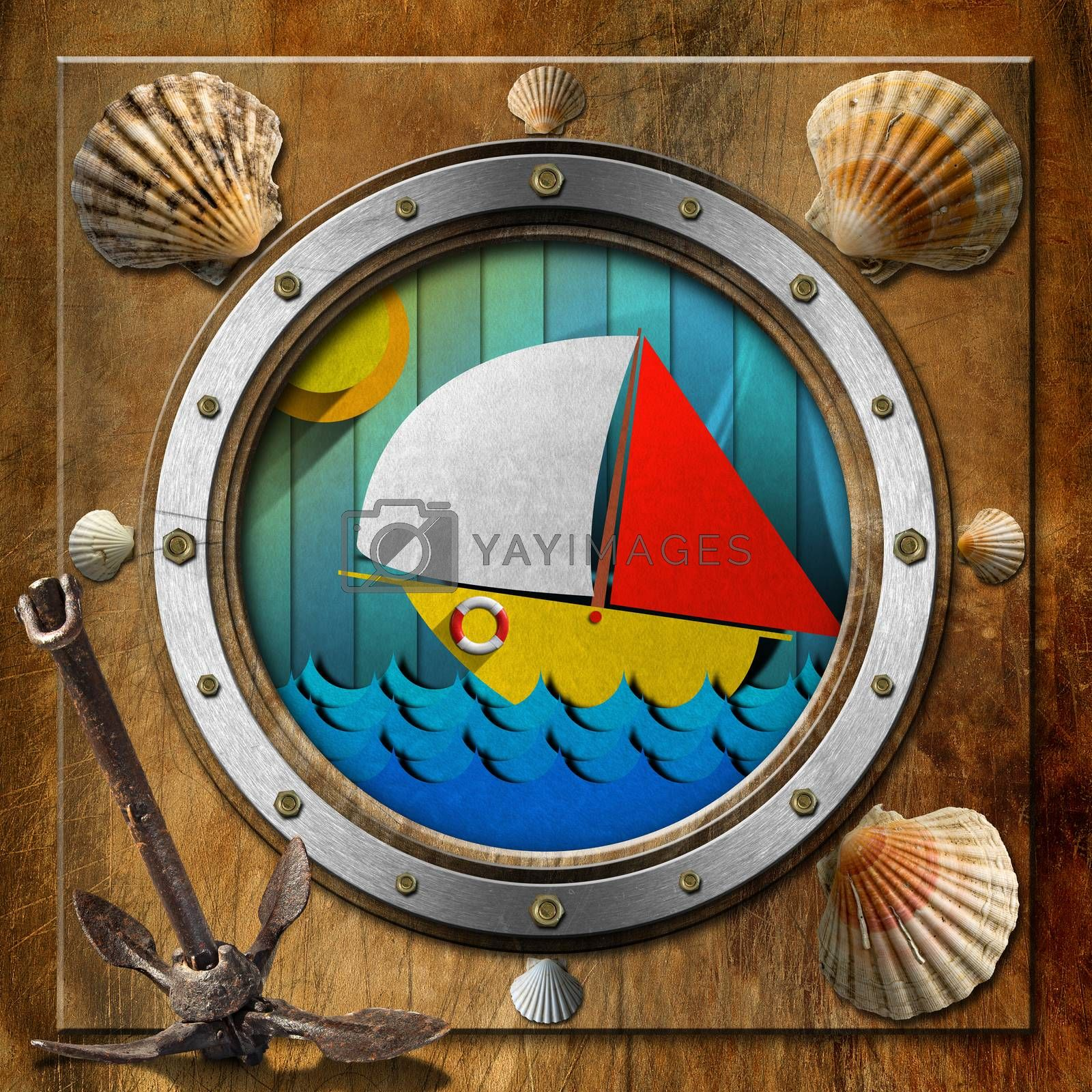 Brown and metallic porthole with bolts, seashells, rusty anchor and stylized sailboat on the waves of the sea