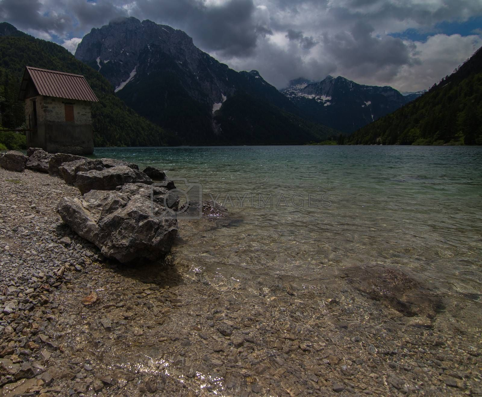 A view over the beautiful Lago del Predil in Northern Italy