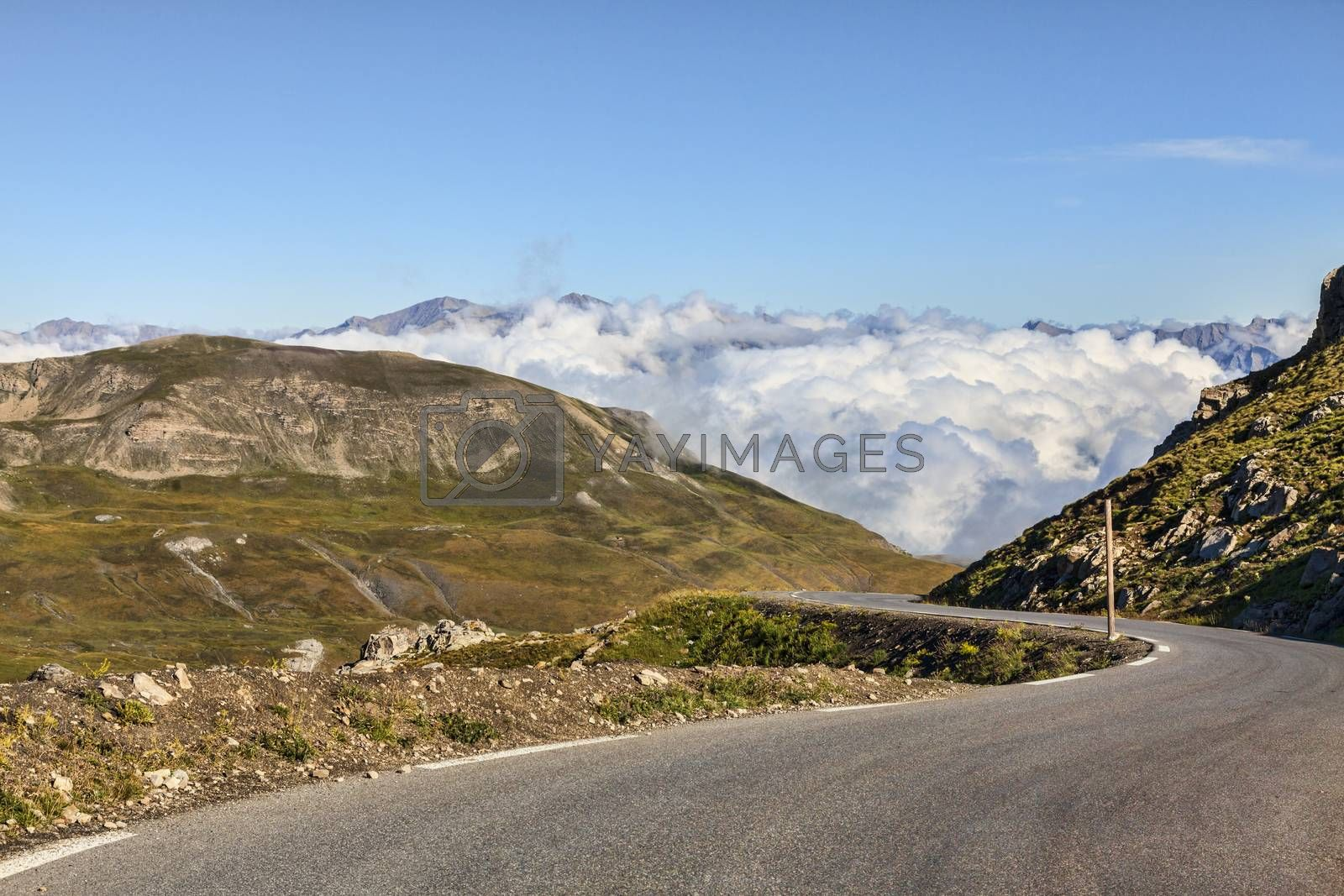 Image of the highest part of the road to Cime de la Bonette which is the highest asphalted road (2860 m) in Europe. It is located at the border between the  Alpes-Maritimes and Alpes-de-Haute-Provence in the Mercantour National Park in soth of France.