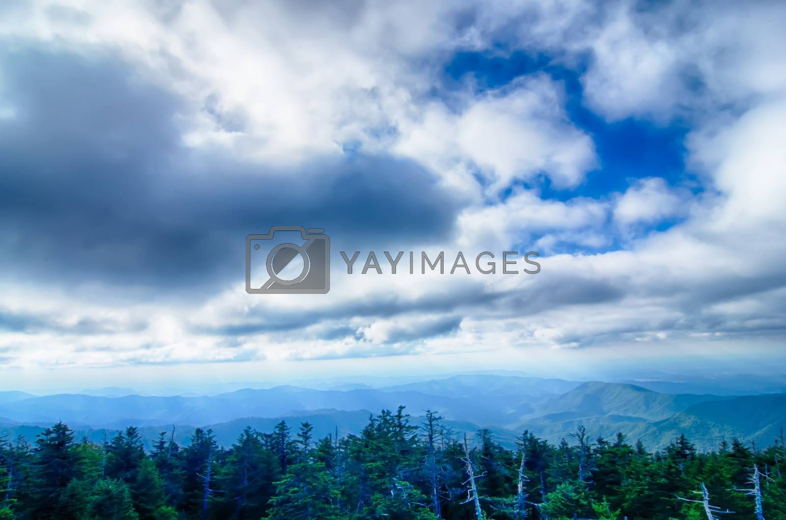 View from Clingman's Dome in the Great Smoky Mountains National Park near Gatlinburg, Tennessee.