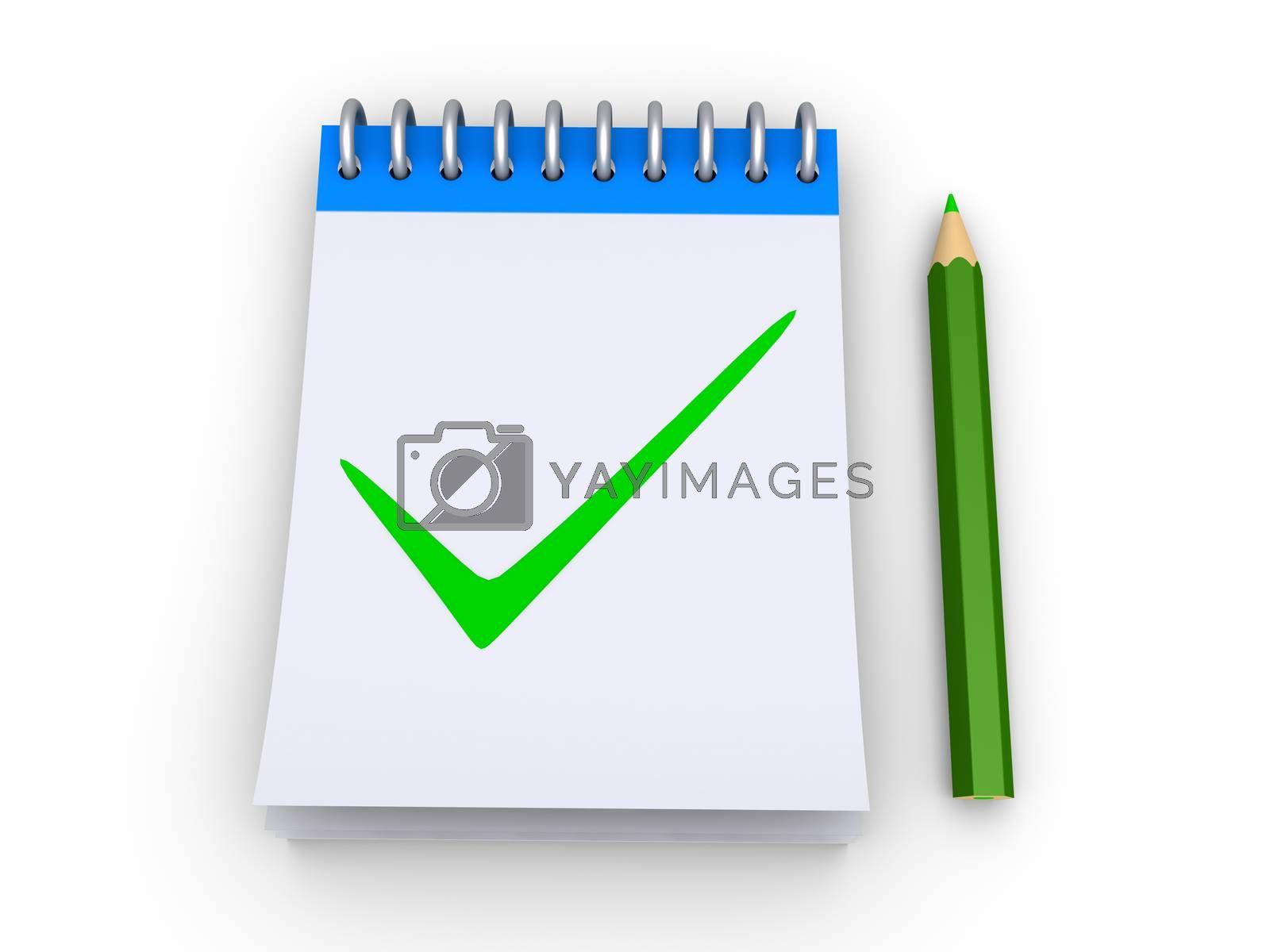 3d notepad with a check mark drawn to it and a pencil