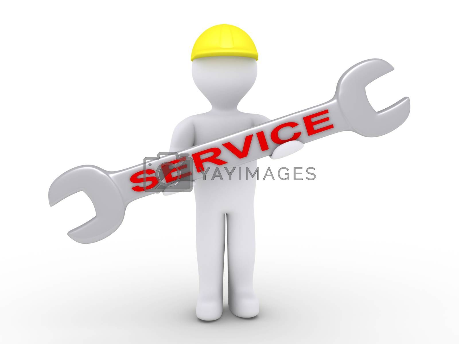 3d person with helmet is holding a wrench with a SERVICE word on it