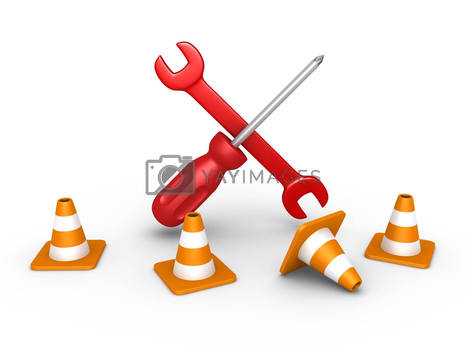 3d repair tools are behind four traffic cones