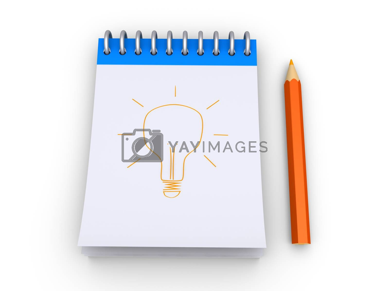 3d notepad with a light bulb drawn to it and a pencil