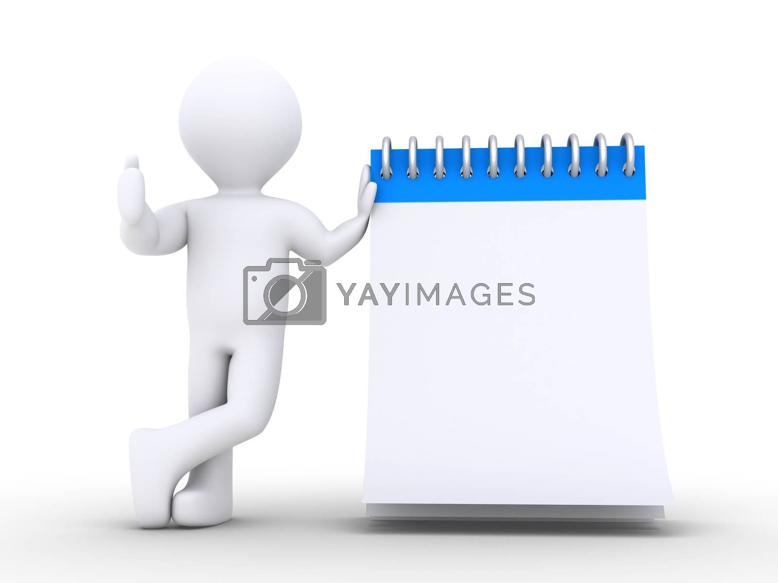 3d person is leaning against a notepad