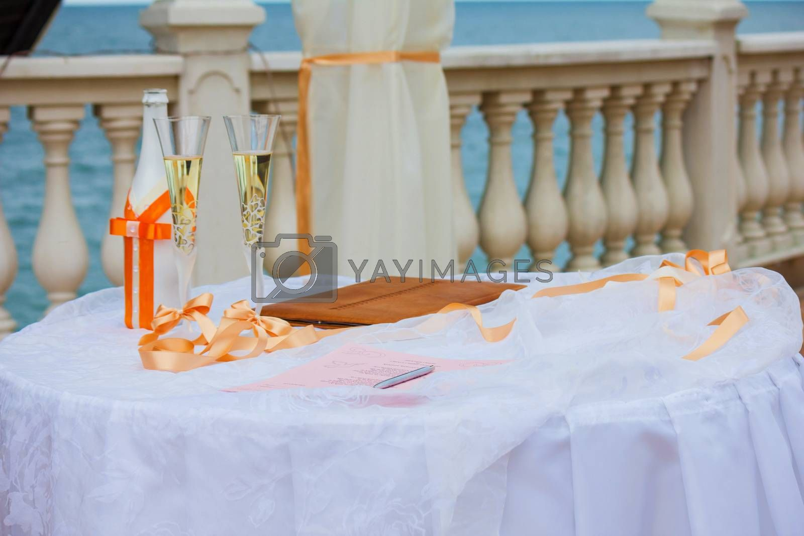 Wedding Champagne glasses at outdoor wedding. Champagne glasses for a wedding.