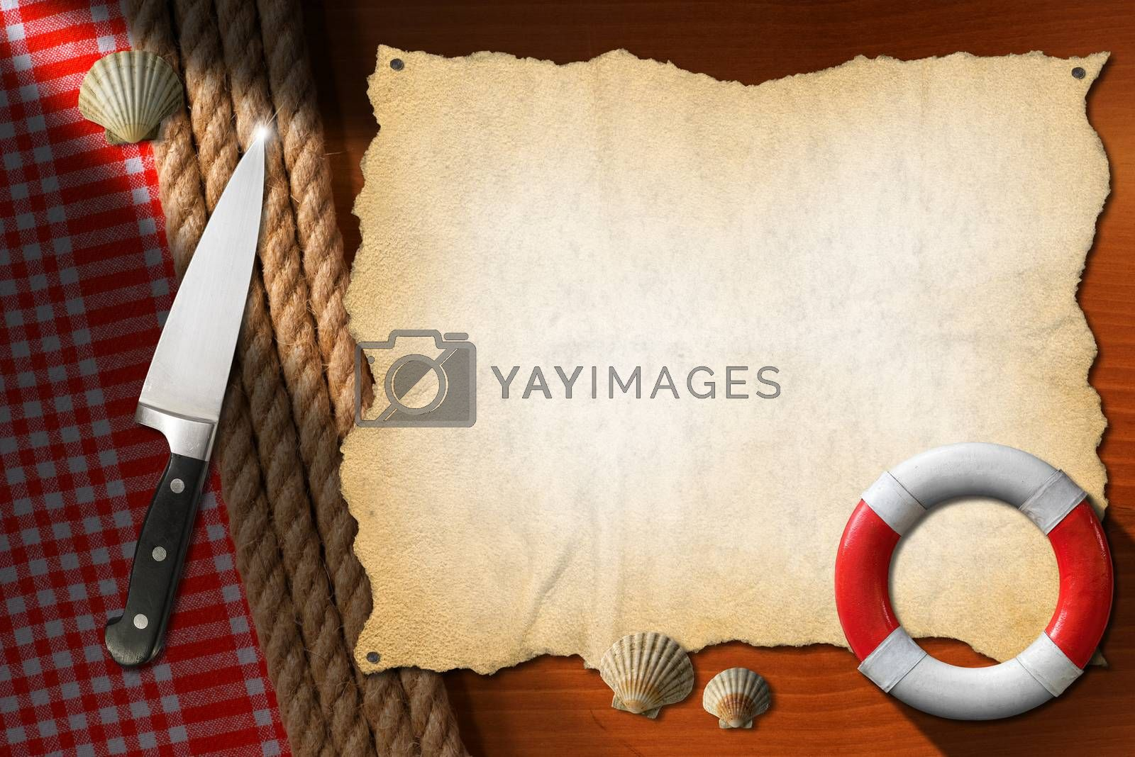 Empty parchment on brown wood wall with ropes and red checked tablecloth, kitchen knife, seashells, red and white lifebuoy. Template for recipes or seafood menu