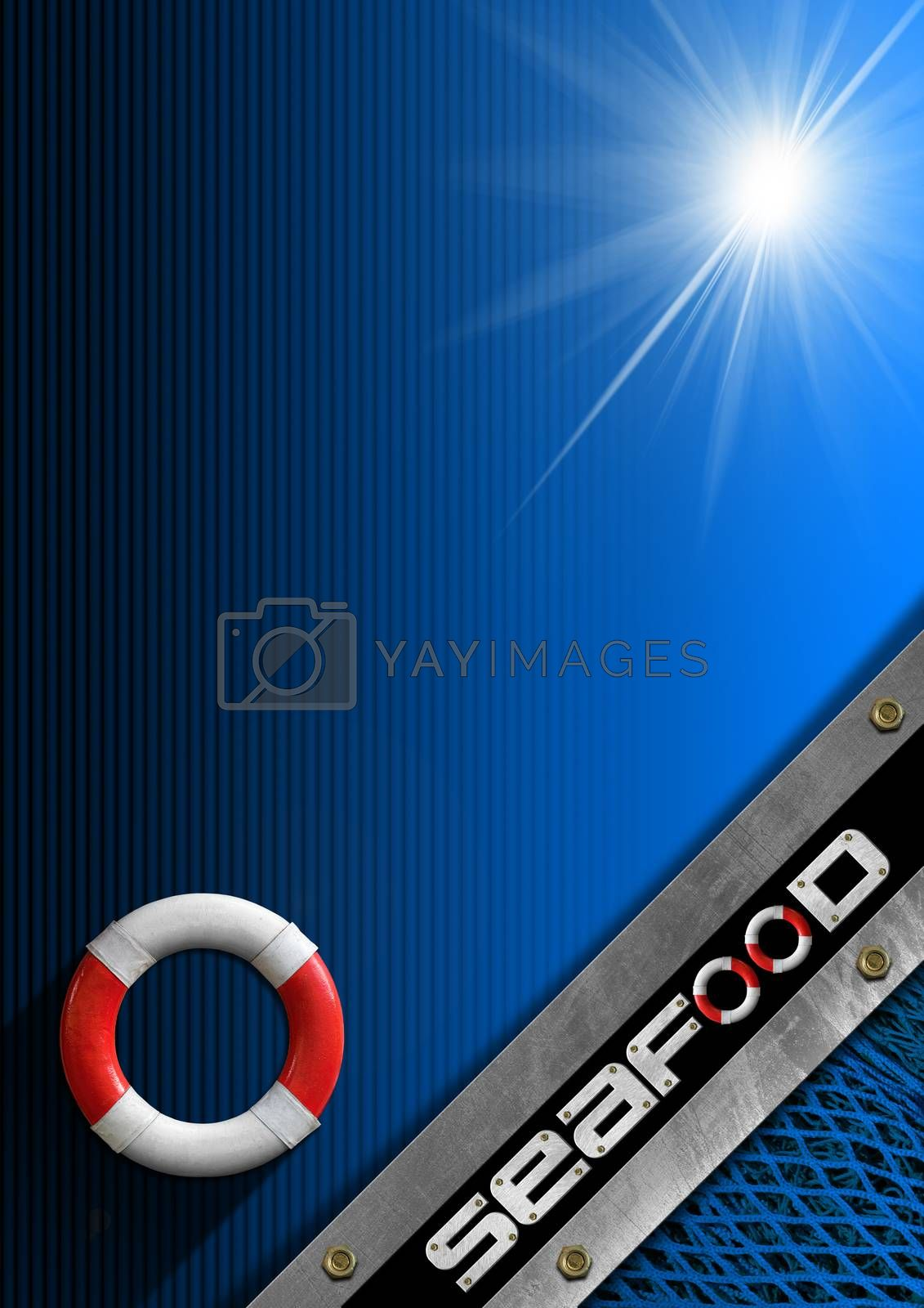 Black and blue background with diagonal metallic with written seafood, lifebuoy and fishing net. Template for recipes or seafood menu