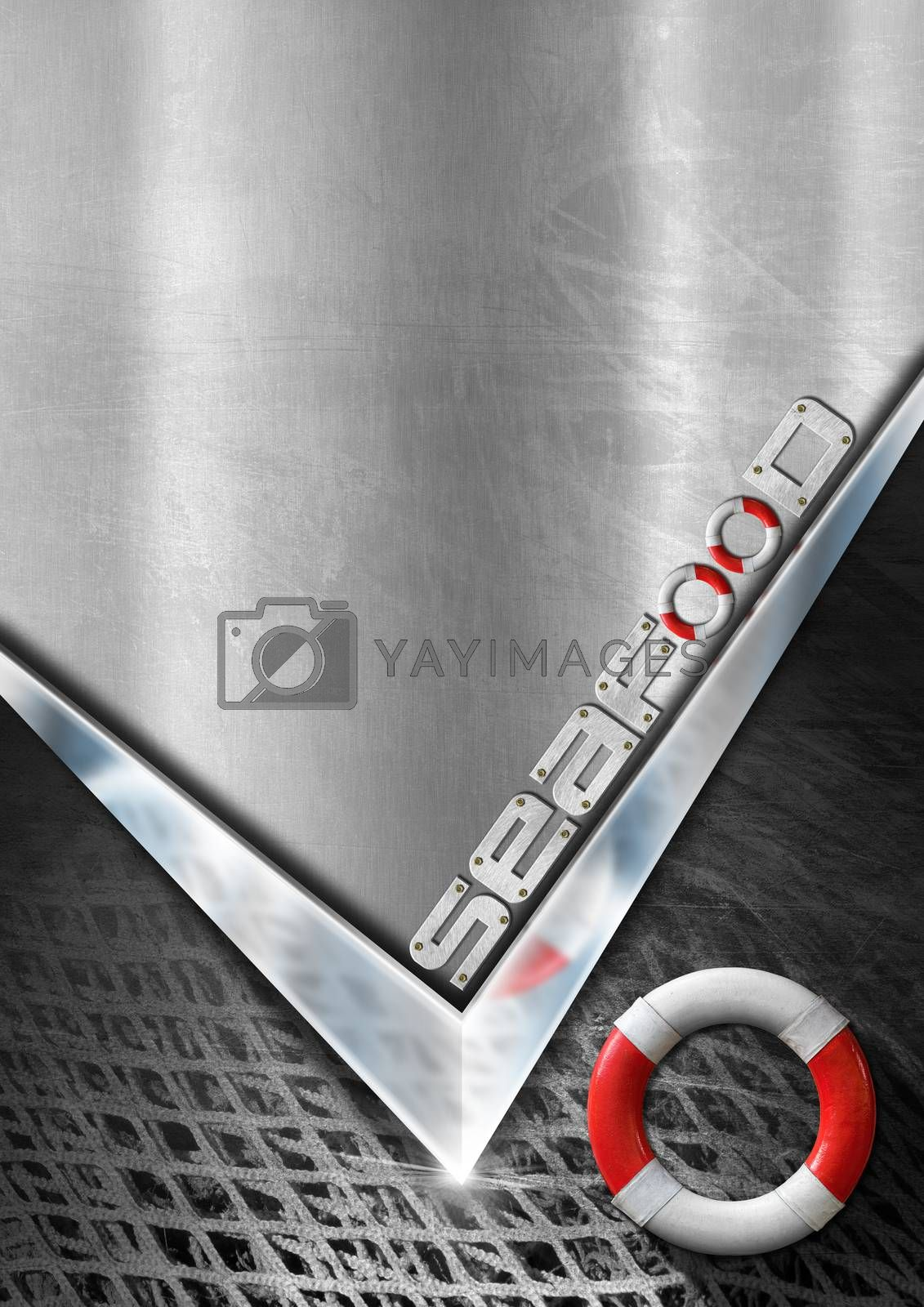 Gray metallic background with chromed arrow, black and white fishing net, lifebuoy and written Seafood. Template for recipes or seafood men