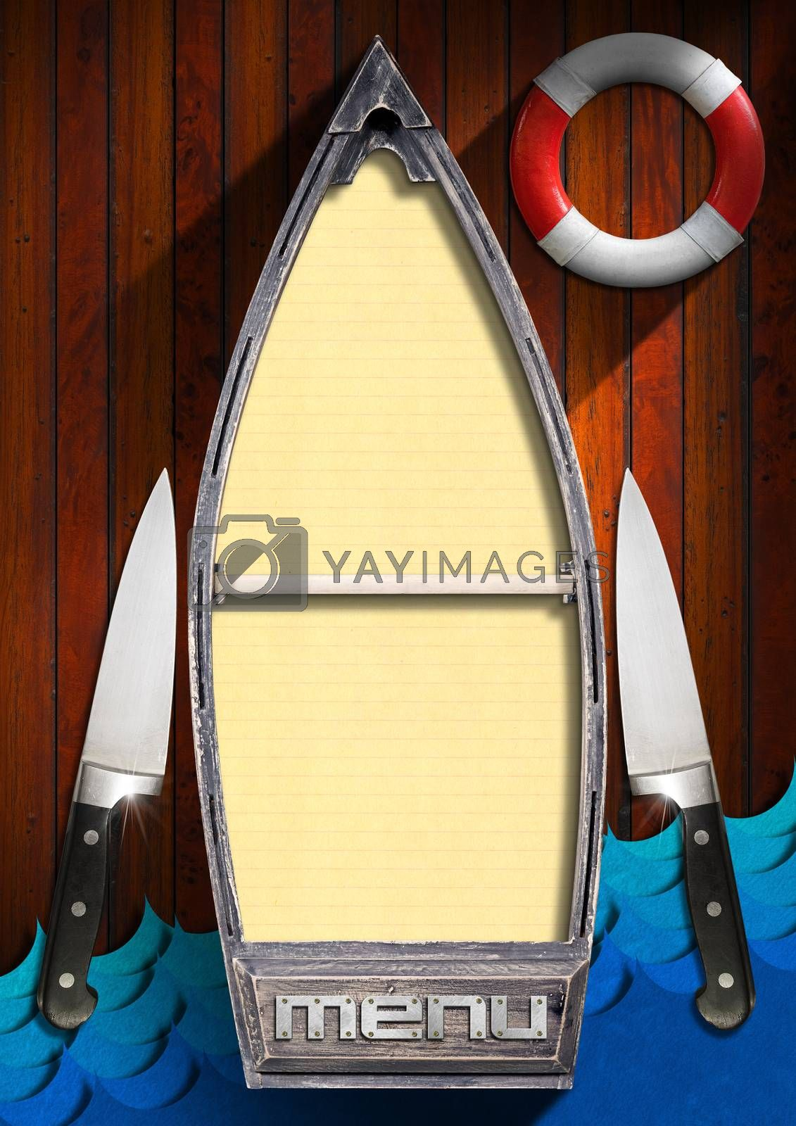 Wooden background with small boat with yellow empty pages, red and white lifebuoy, kitchen knives and stylized waves. Template for recipes or seafood menu
