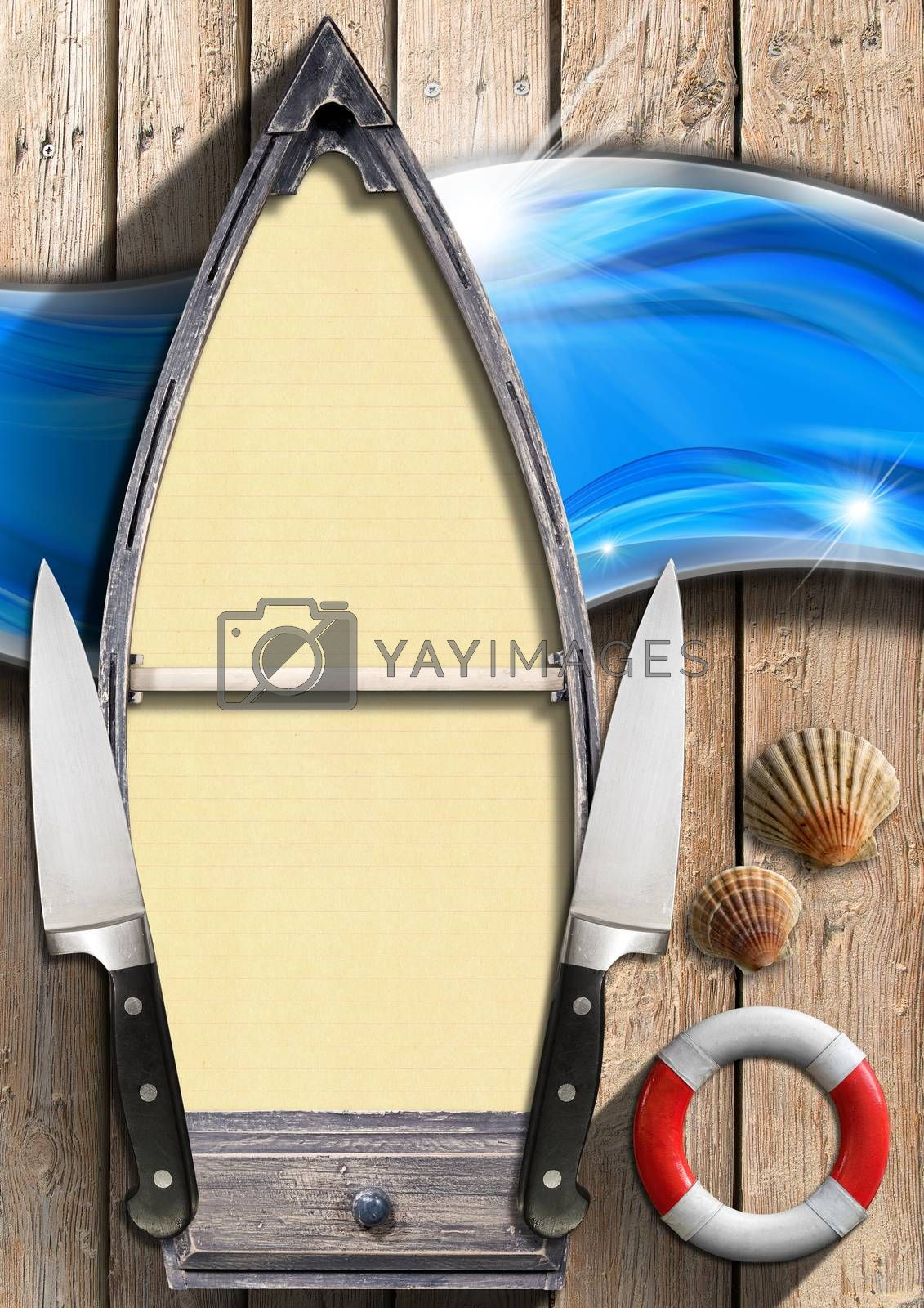 Small boat with yellow empty pages, lifebuoy, two kitchen knives and seashells on a wooden background with blue waves. Template for recipes or seafood menu