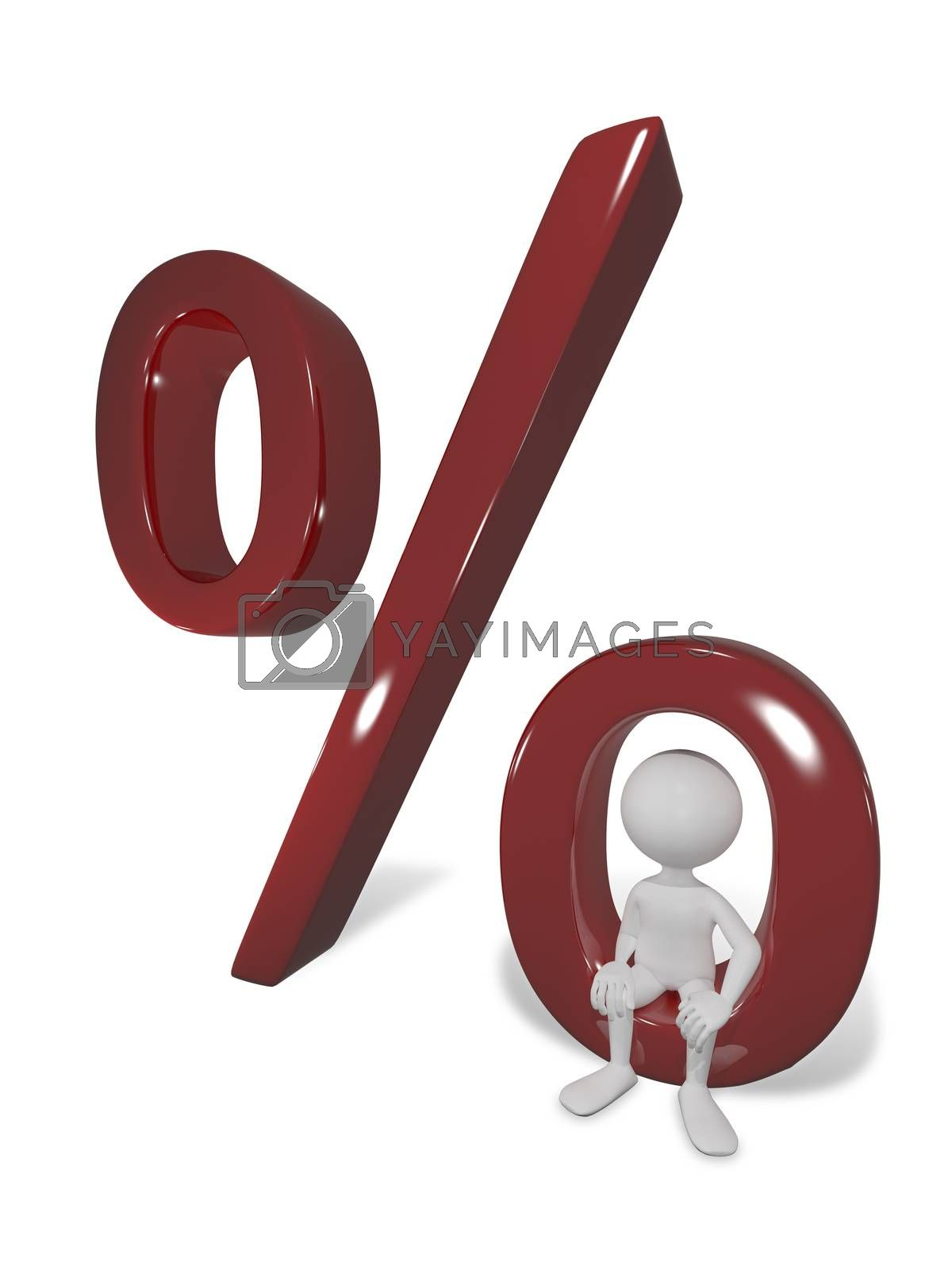 illustration abstract white man with a percentage
