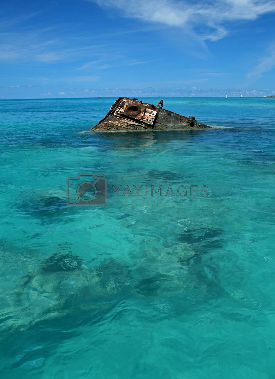 One end of a ship wreck (the Vixen) emerging from a tropical Sea