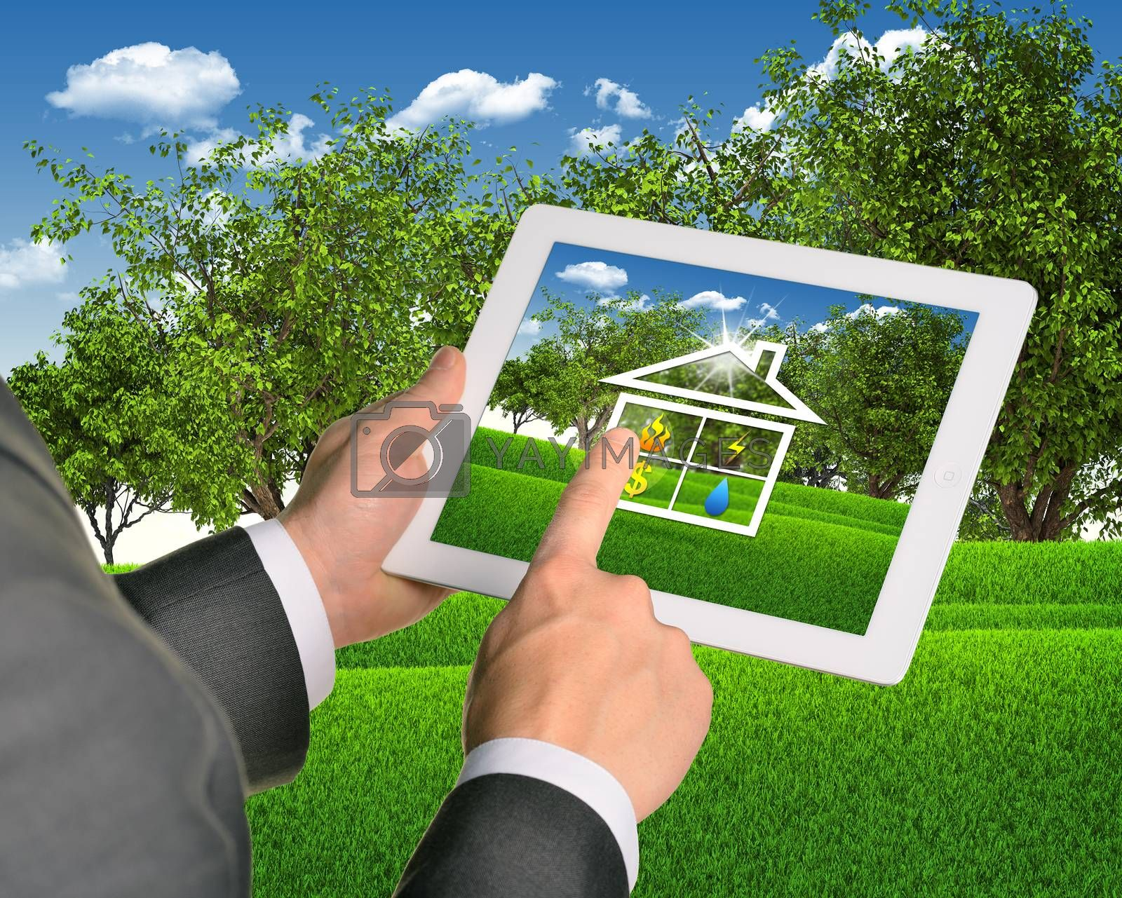 Man using tablet pc with symbols of public service and house. Landscape as backdrop