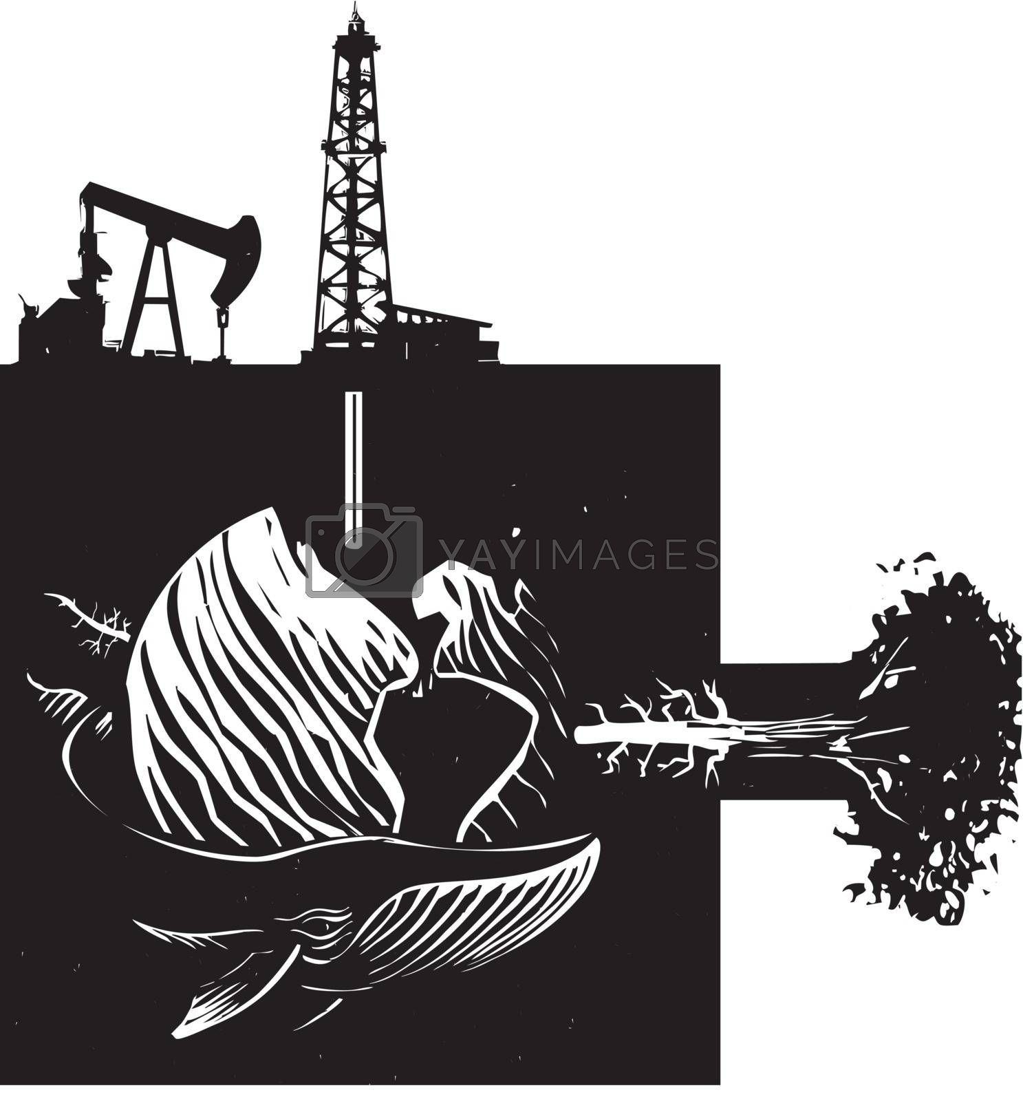 Woodcut style image the earth with images of industry, nature and wildlife.