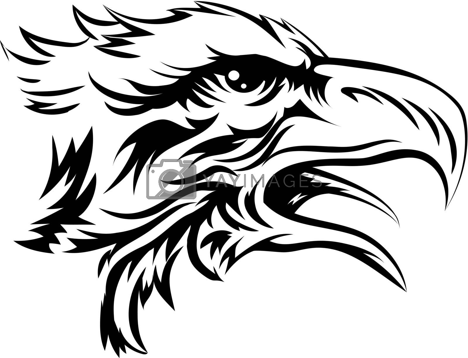 Eagle head like that of a bald eagle or other bird of prey