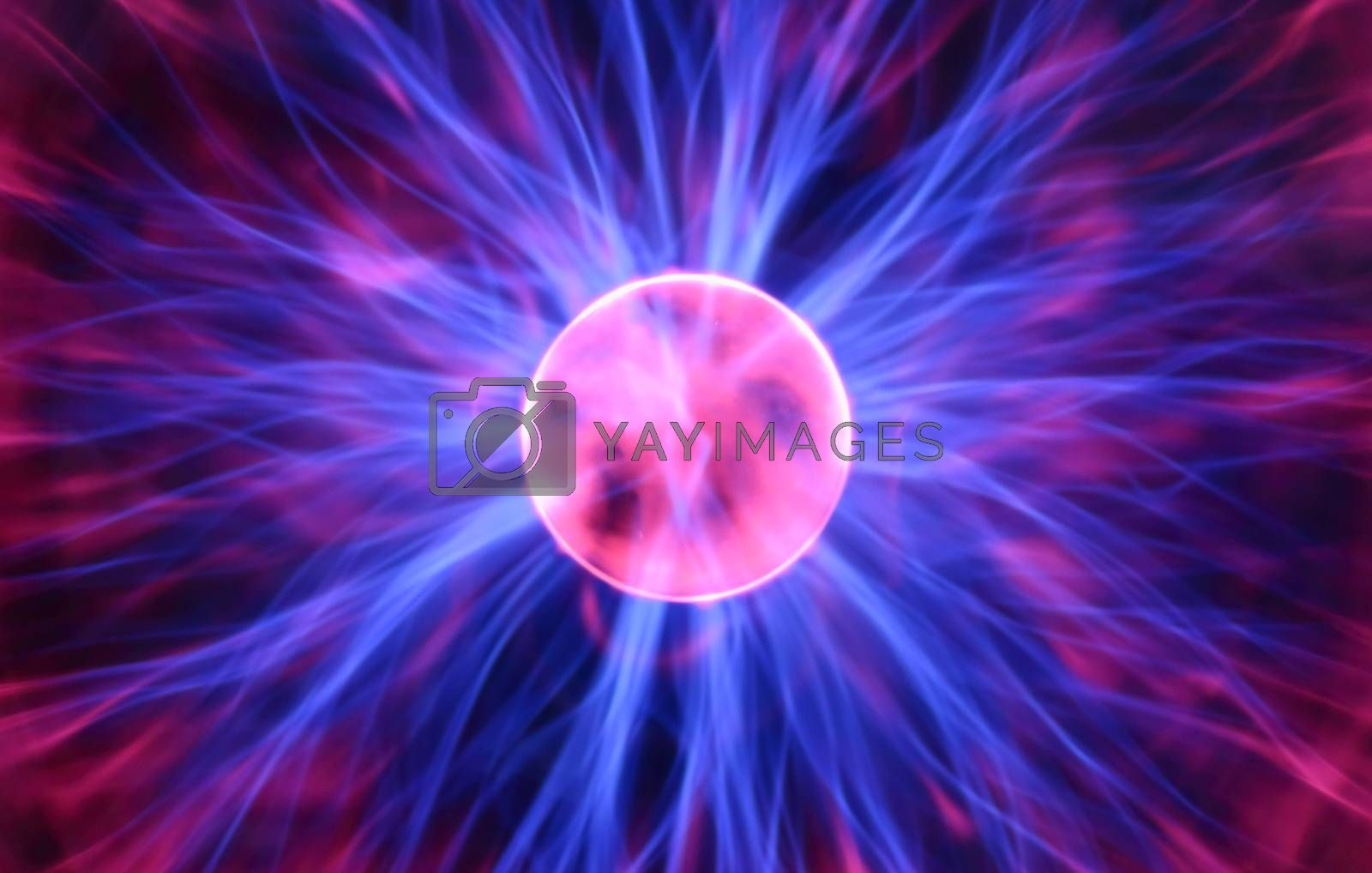 Purple plasma flames drawing from center to margin of sphere