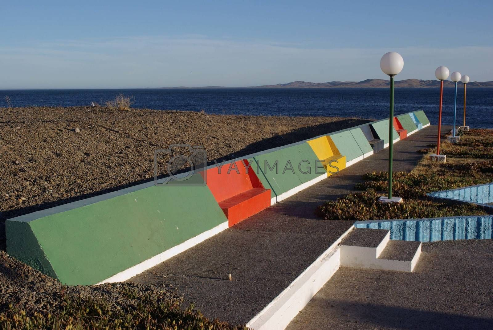 Royalty free image of Public benches in Patagonia by pascalou95