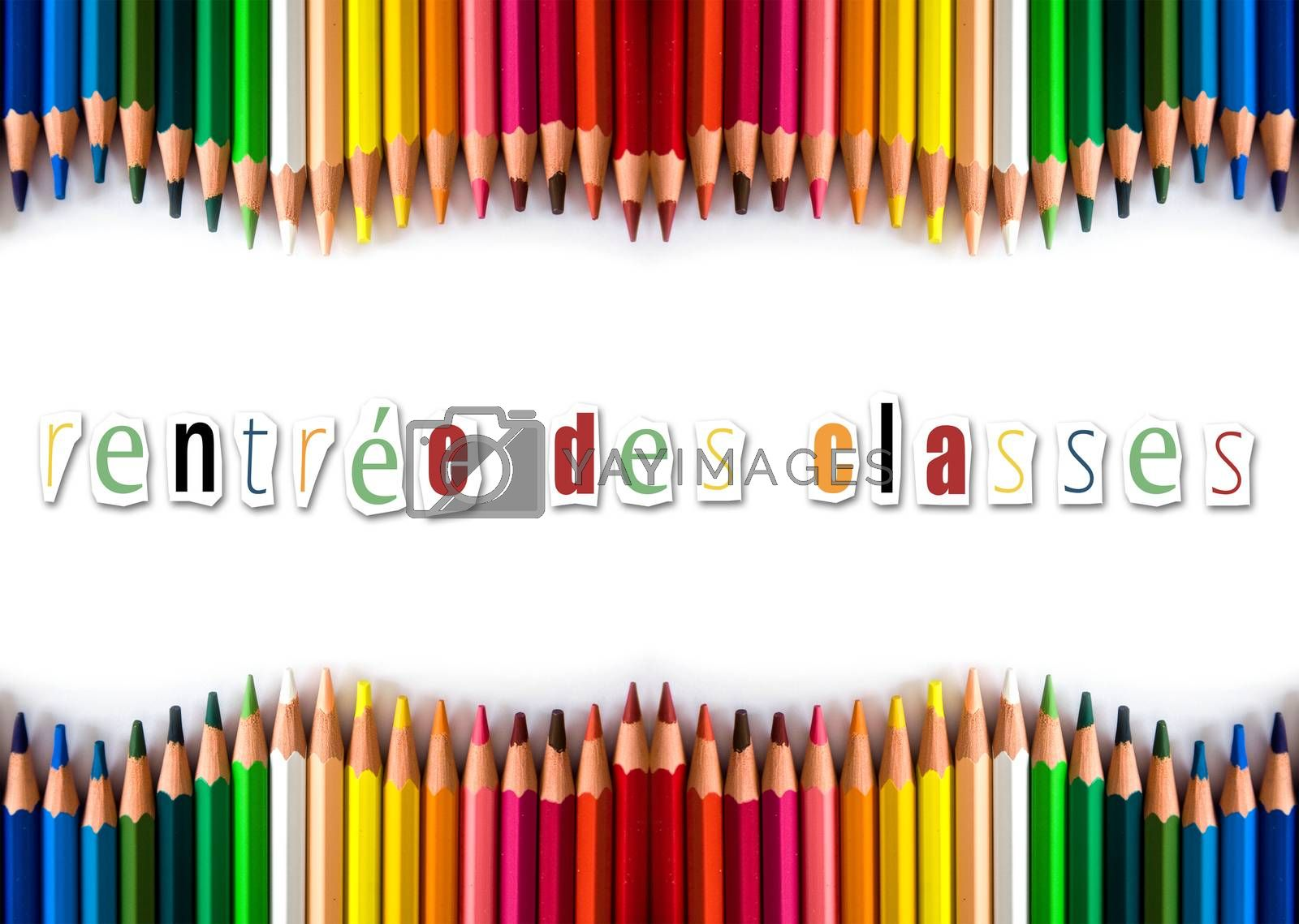 Royalty free image of pencils color back to shool (in french) by NeydtStock