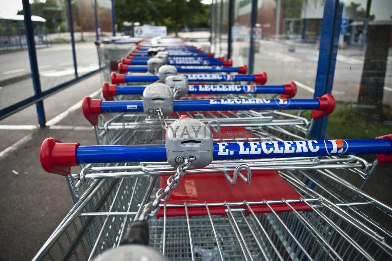 Royalty free image of market's trolleys in Lecrercq Market by NeydtStock