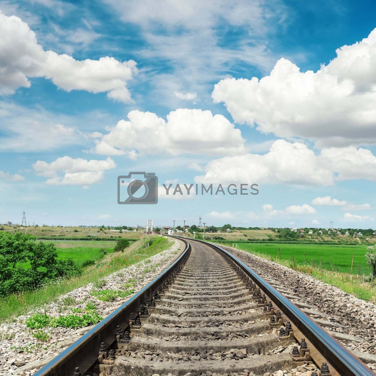 Royalty free image of railroad to horizon in green landscape and cloudy sky by mycola