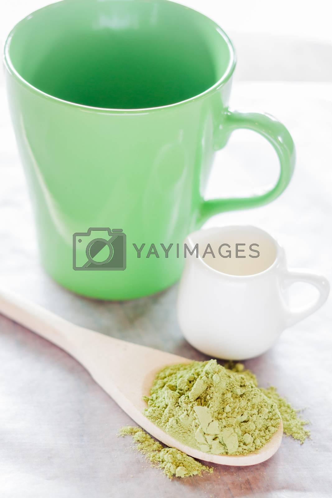 Royalty free image of Set of making hot green tea latte drink by nalinratphi