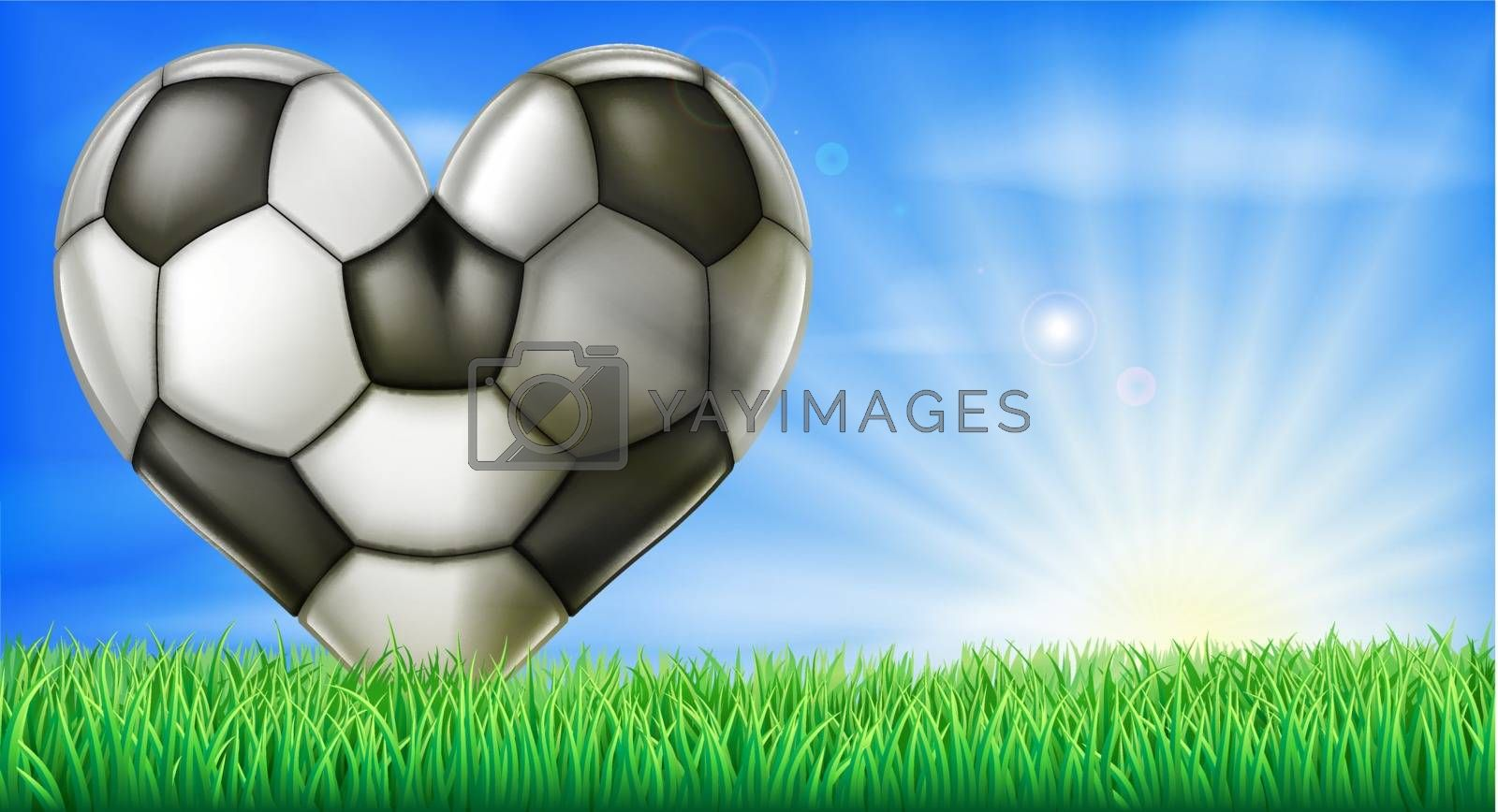 A heart shaped soccer football in a green grass field pitch. Conceptual illustration for a love of soccer