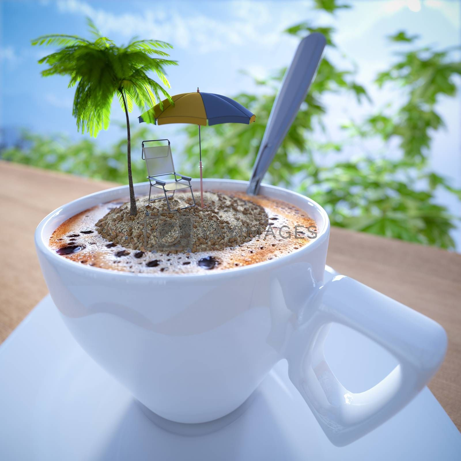 Royalty free image of Coffee cup vacation relaxing concept composition with palm and chair by denisgo