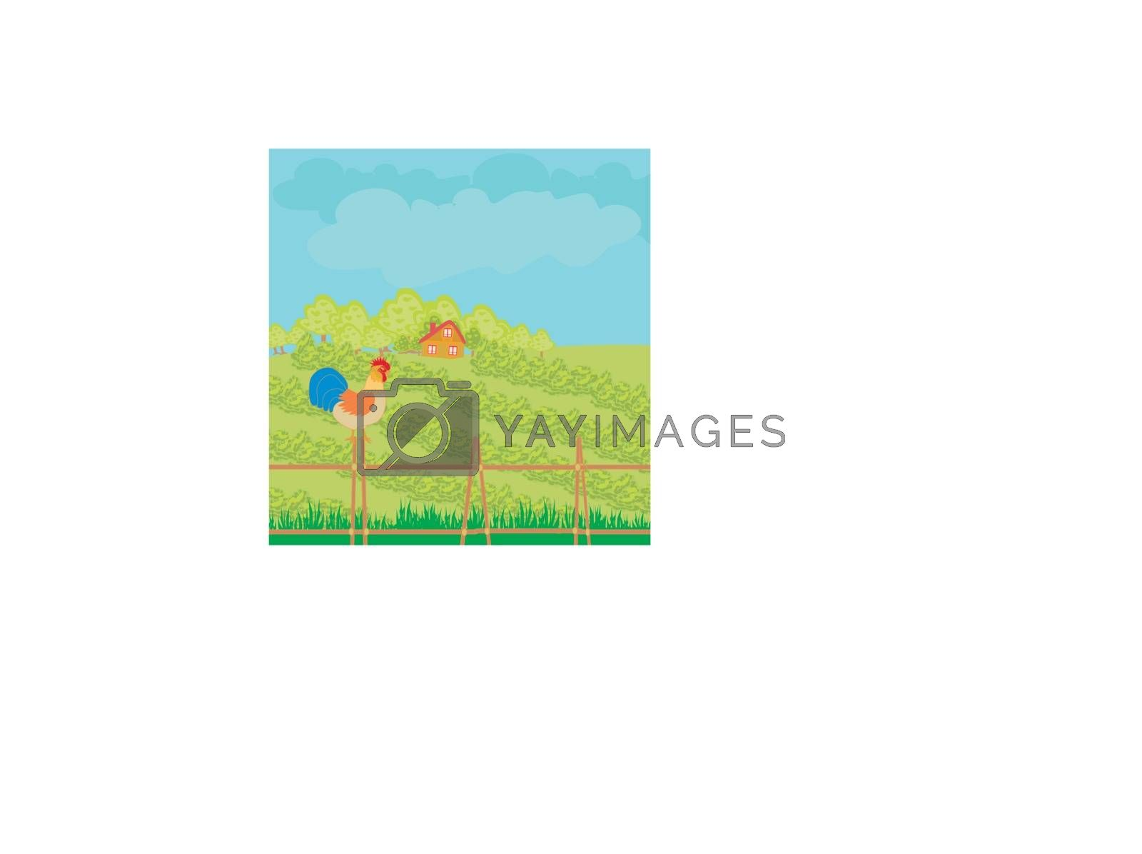 Royalty free image of rural landscape with roster by JackyBrown