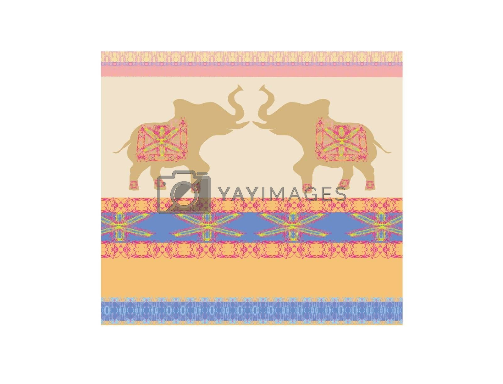 Royalty free image of Oriental pattern with elephants by JackyBrown