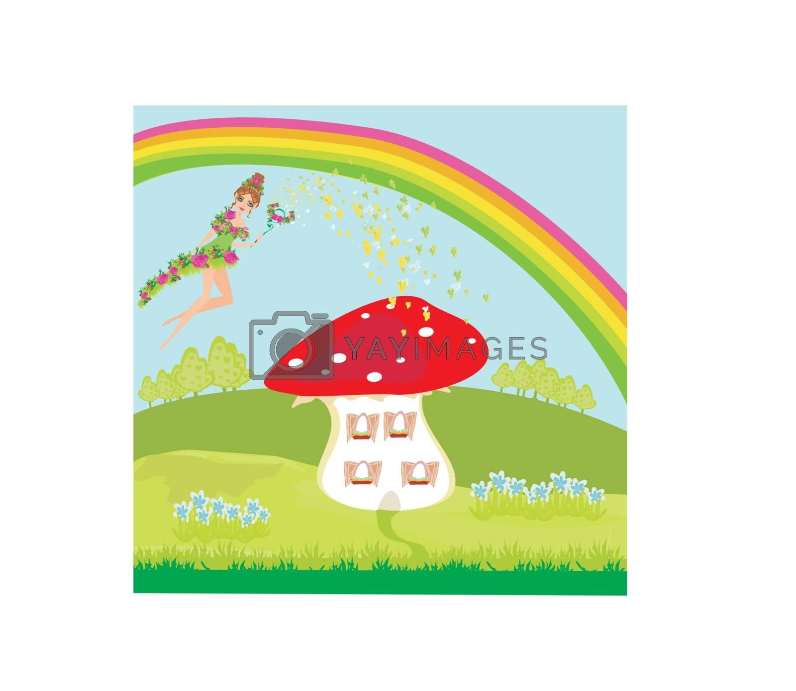 Royalty free image of funny cartoon mushroom house and beautiful fairy by JackyBrown