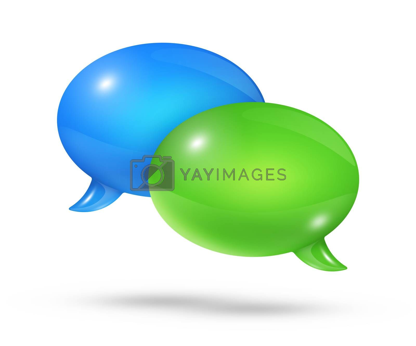 3D blue and green speech bubbles isolated on white