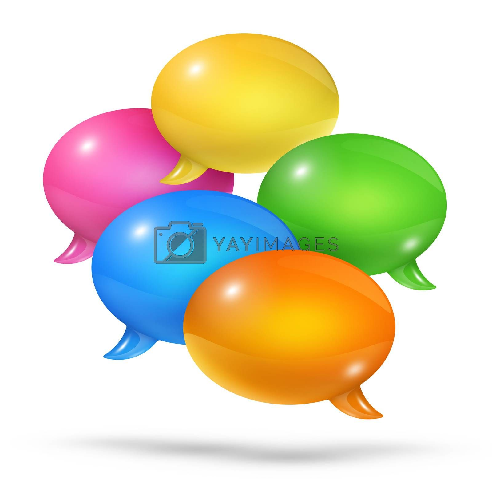 3D group of colored speech bubbles isolated on white