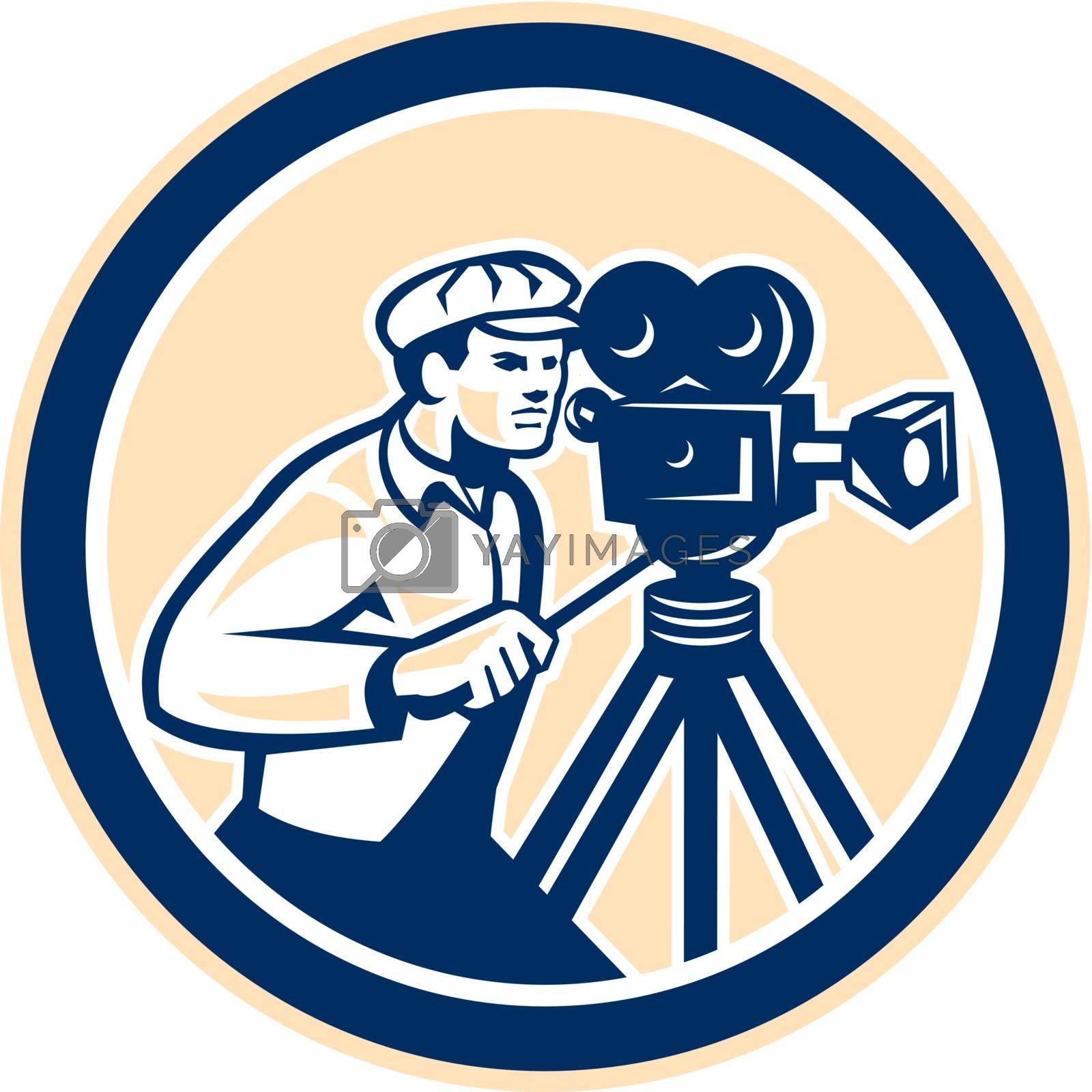 Royalty free image of Cameraman Vintage Film Camera Circle Retro by patrimonio