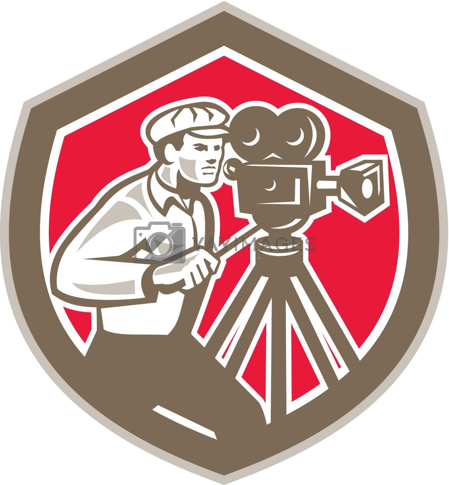 Royalty free image of Cameraman Vintage Film Camera Shield Retro by patrimonio