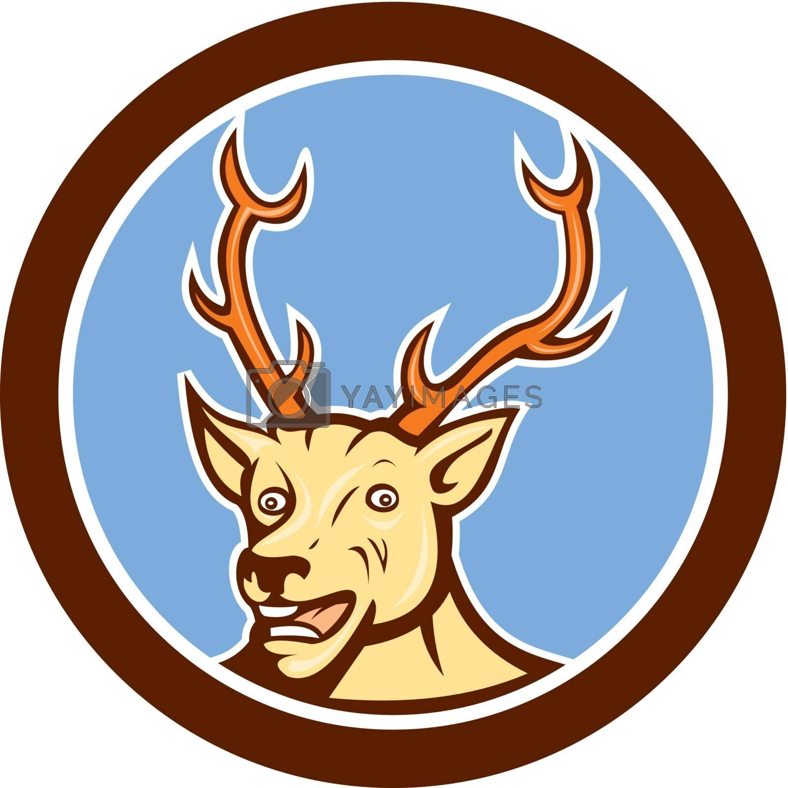 Royalty free image of Stag Deer Happy Head Circle Cartoon by patrimonio