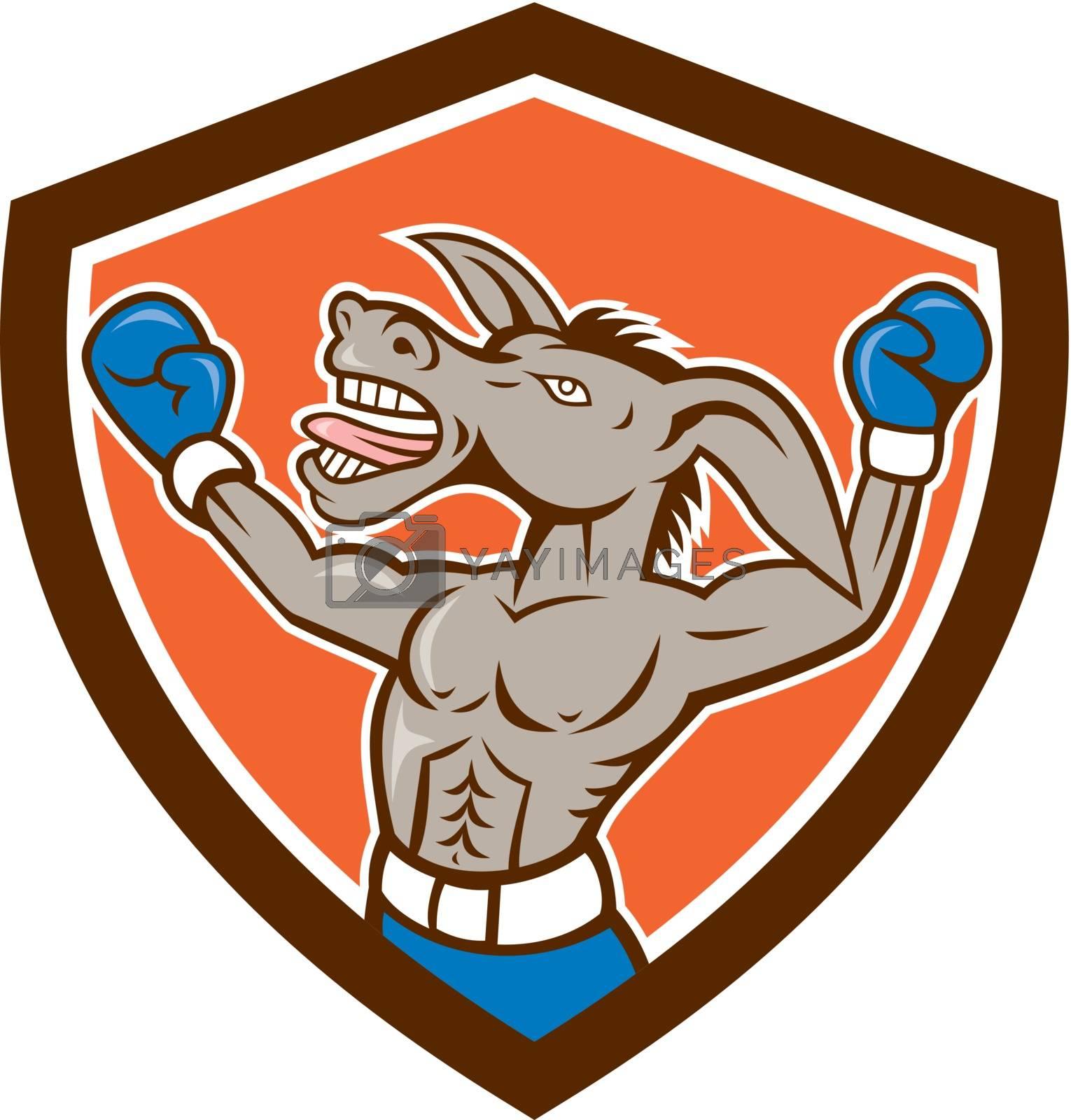 Royalty free image of Donkey Boxing Celebrate Shield Cartoon by patrimonio