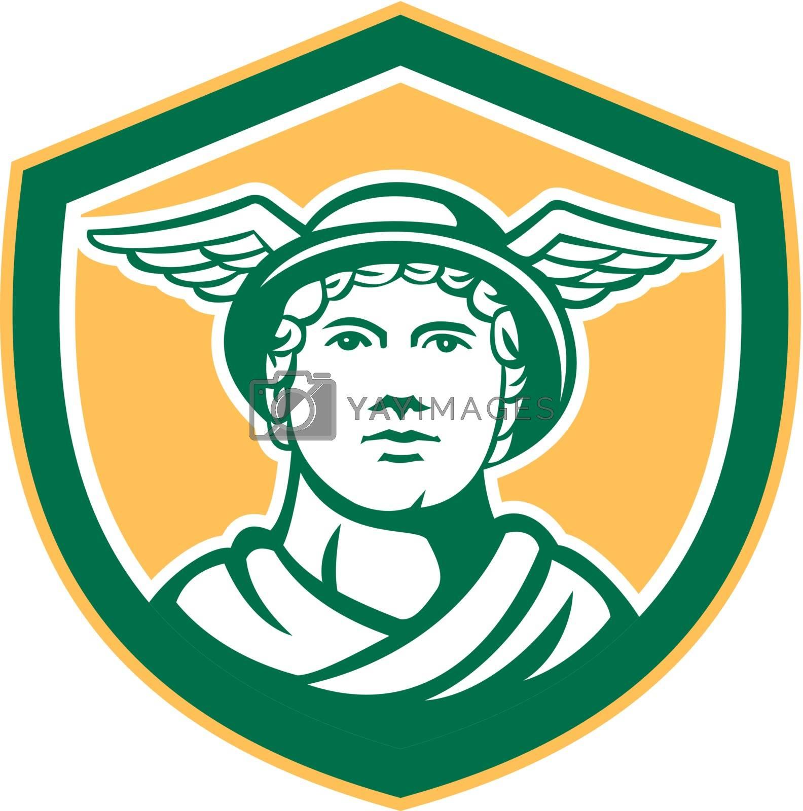 Royalty free image of Mercury Head Winged Hat Retro Shield by patrimonio
