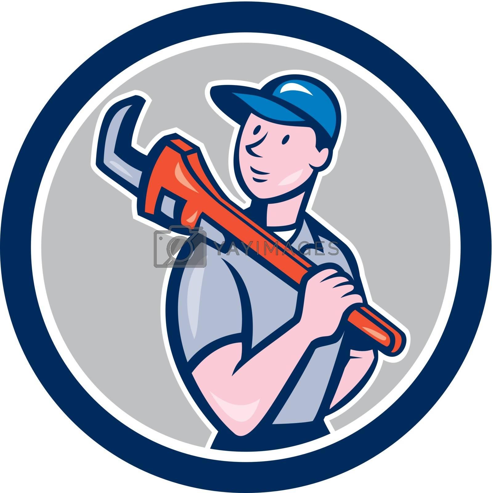 Royalty free image of Plumber Holding Monkey Wrench Circle Cartoon by patrimonio