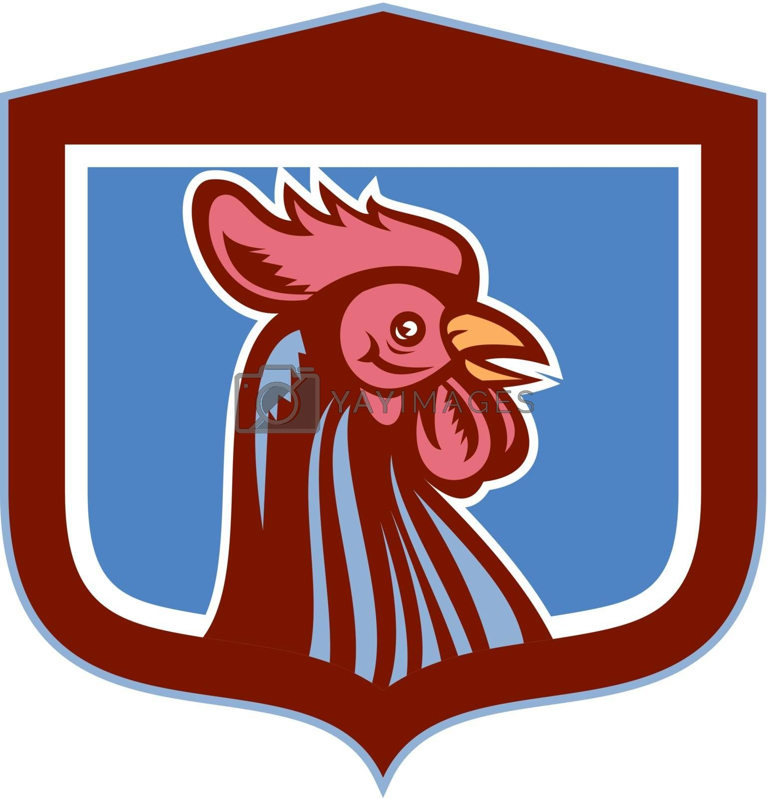 Royalty free image of Chicken Rooster Head Side View Shield Retro by patrimonio