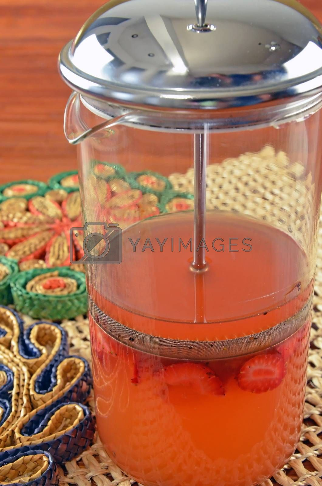 Royalty free image of Sweetened Fruit Vinegar Drinking Shrub In A French Press by shellystuart