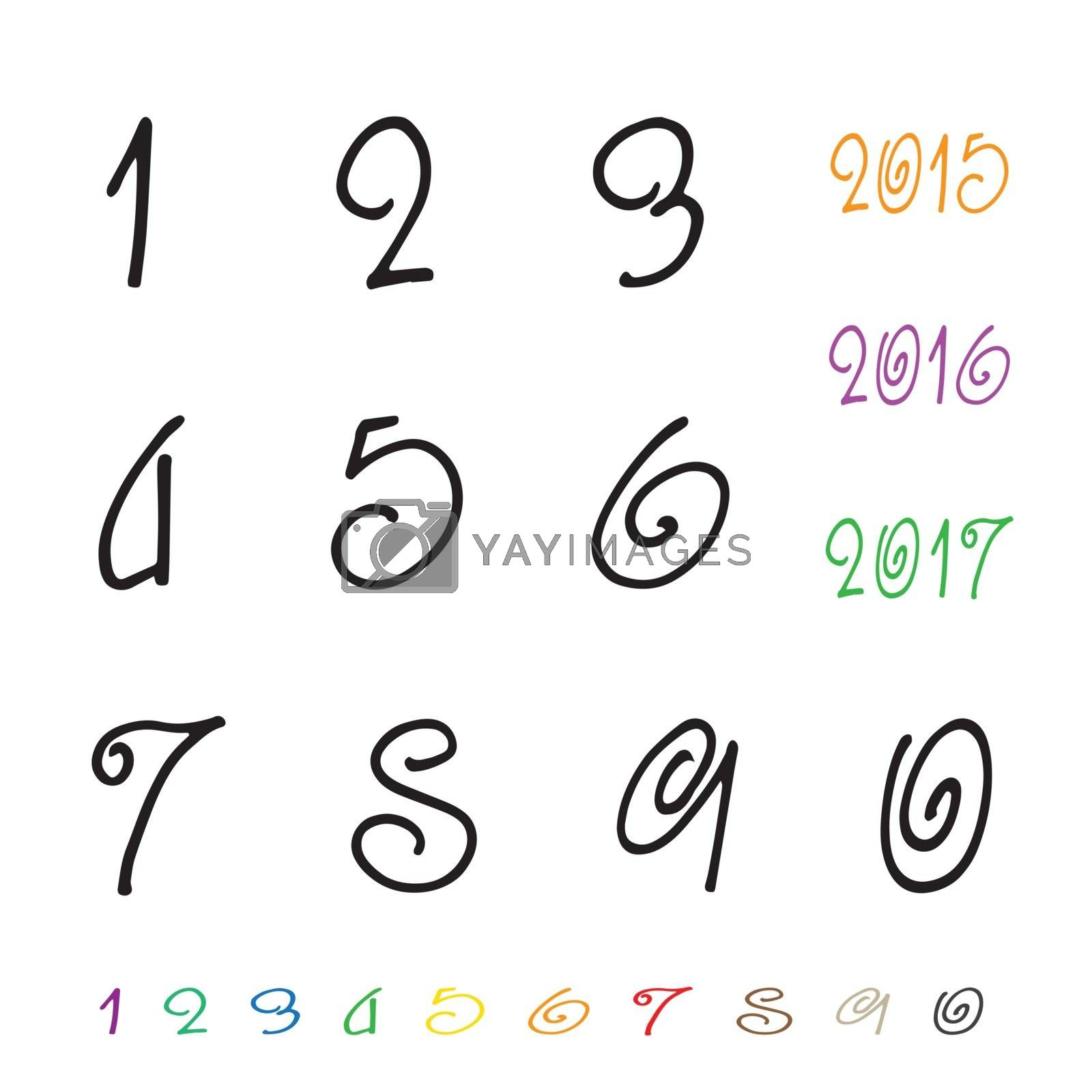 Royalty free image of Numbers 0-9 written with a brush on a white background by yod67