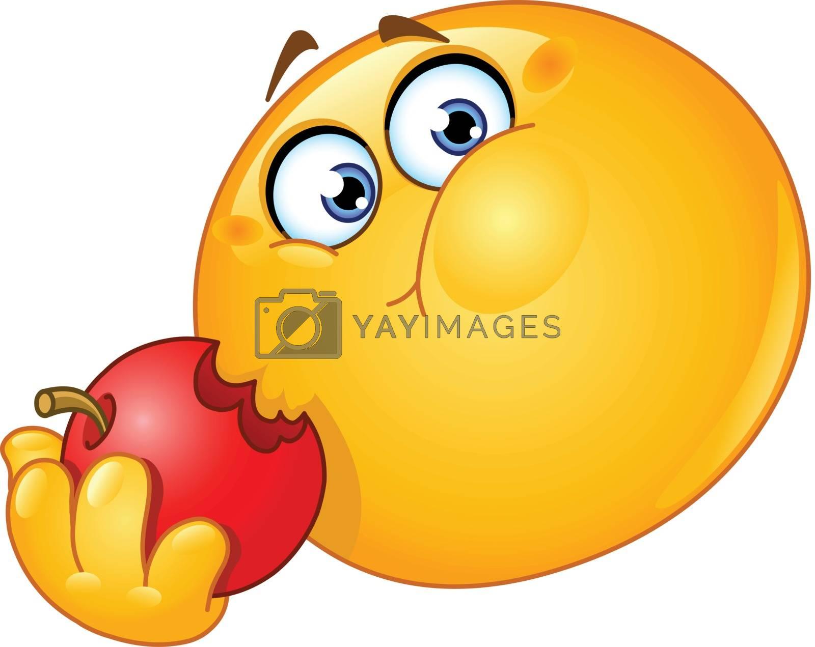Royalty free image of Emoticon eating apple by yayayoyo