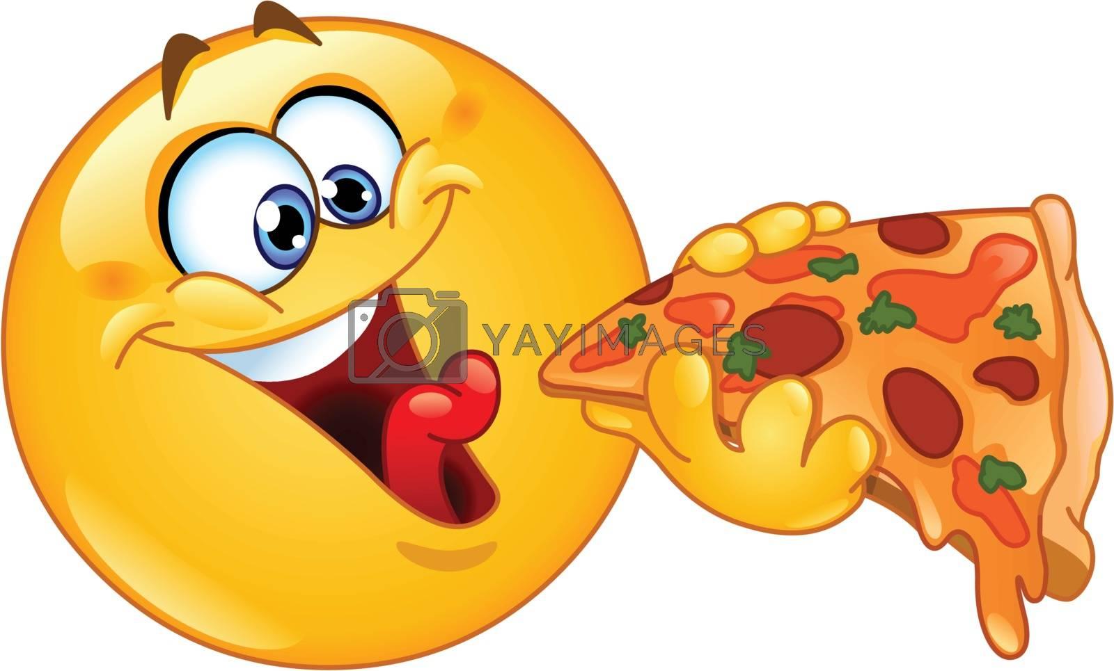 Royalty free image of Emoticon eating pizza by yayayoyo