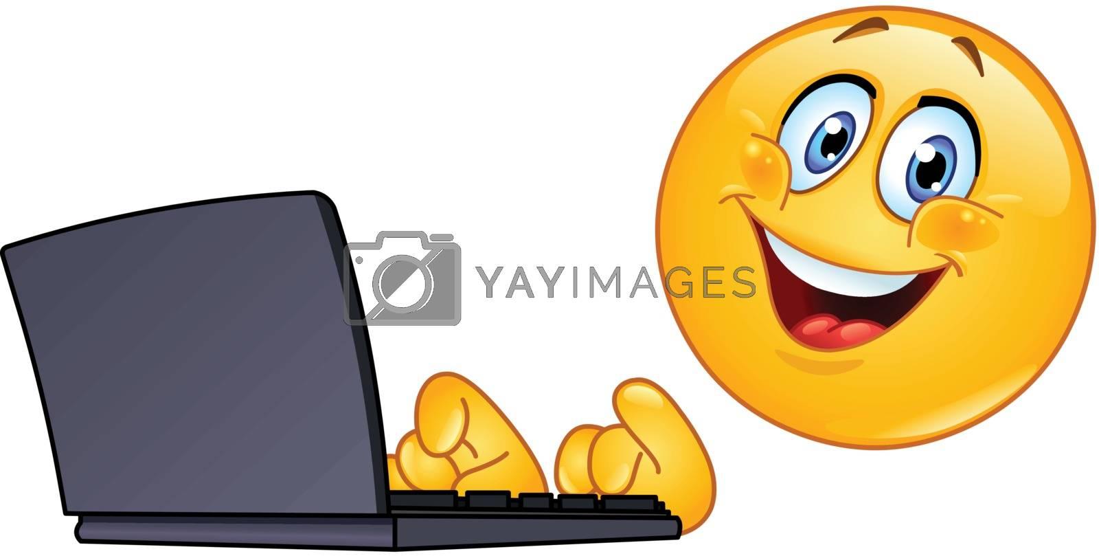 Royalty free image of Emoticon with computer by yayayoyo