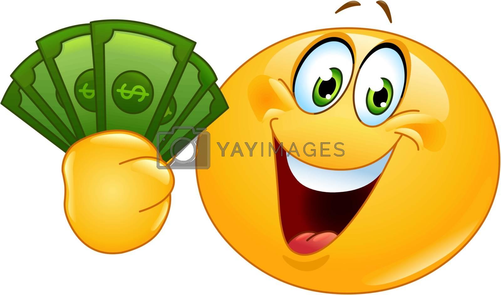 Royalty free image of Emoticon with dollars by yayayoyo
