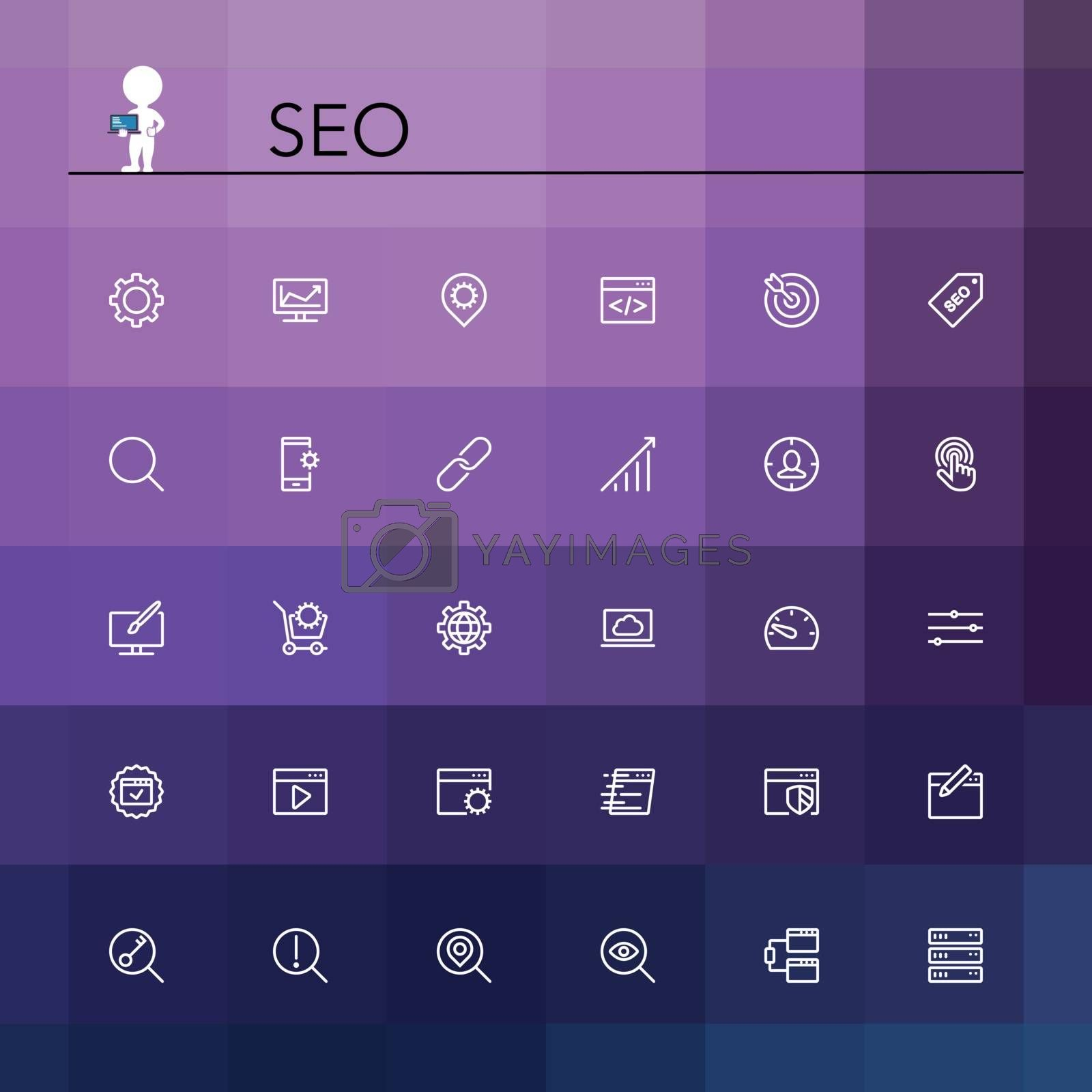 Royalty free image of SEO Line Icons by Anatoly