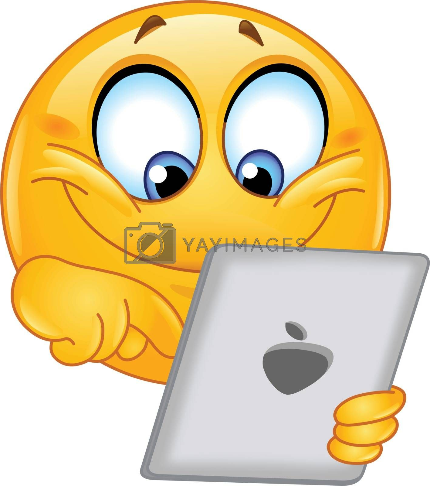 Royalty free image of Emoticon with tablet by yayayoyo