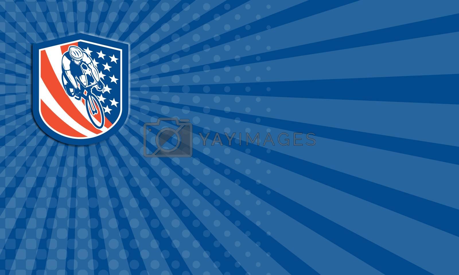Royalty free image of Business card Bicycle Rider USA Flag Shield Retro by patrimonio